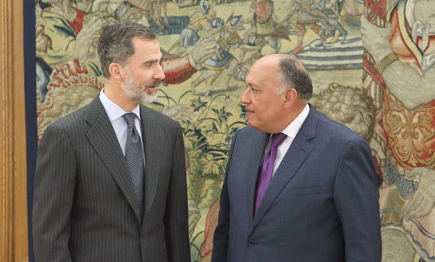 Egyptian Foreign Minister Sameh Shoukry meets with Spanish King Felipe VI on Wednesday, February 14, 2018 – Press Photo
