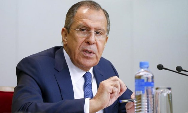 Russian Foreign Minister Sergei Lavrov speaks during a news conference in Moscow, Russia, January