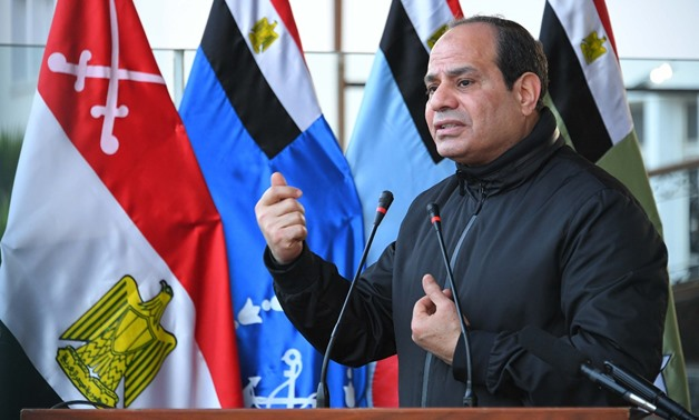 President Abdel Fatah al-Sisi during his visit early Monday, February 19, to the Military Academy- Press photo