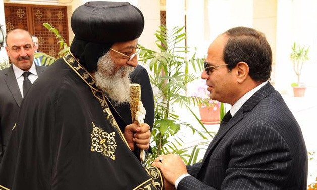 President Sisi meets Coptic Orthodox Church's Pope Tawadros II
