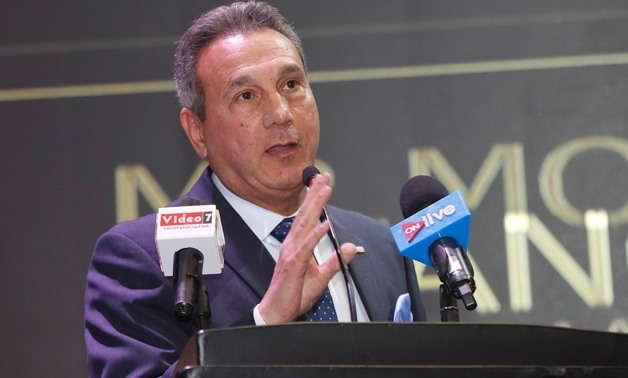 Mohamed El-Etreby giving his speech during the bt100 Awards ceremony - Egypt Today