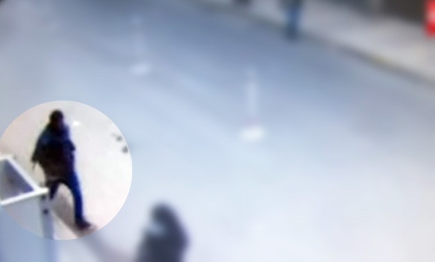 CCTV footage shows Mahmoud Hassan approaching the Saint Mark's Coptic Orthodox Cathedral