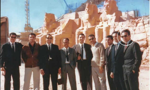 A historical photo of the group of Egyptian engineers who participated in the Abu Simbel project. Medhat Abdel Rahman stands on the far right.