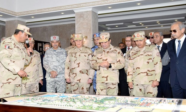 President Sisi in a military uniform has inaugurated the Unified Command of the East of the Canal to Combat Terrorism- press photo