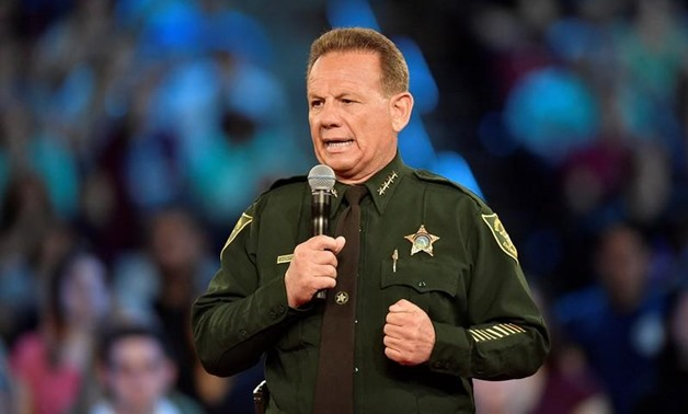 Broward County Sheriff Scott Israel speaks before the start of a CNN town hall meeting at the BB&T Center, in Sunrise, Florida, U.S. February 21, 2018 - Reuters