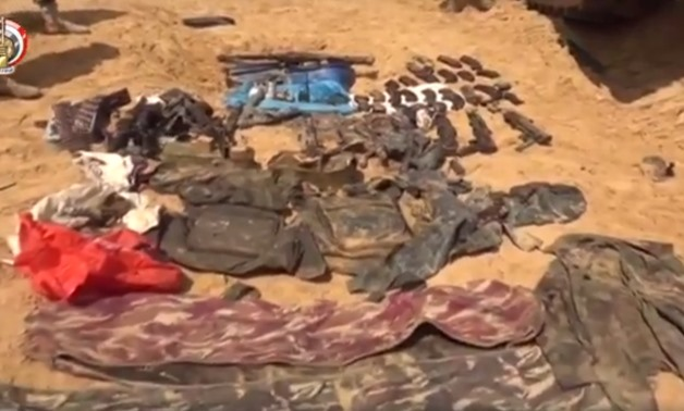 Amounts of weapons and ammunition discovered in terror hideouts in North Sinai - Screen shot of a previous army video statement.