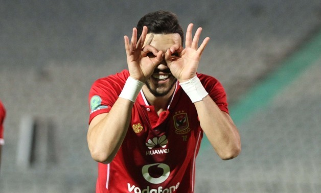 Soccer, Feb, 12, 2018, Azarro celebrates after opening the score for Al Ahly, Egypt Today, Hassan Mohamed
