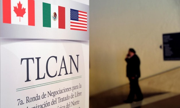 A NAFTA banner is pictured inside a hotel where the seventh round of NAFTA talks involving the United States, Mexico and Canada take place, in Mexico City, Mexico February 27, 2018. REUTERS/Henry Romero