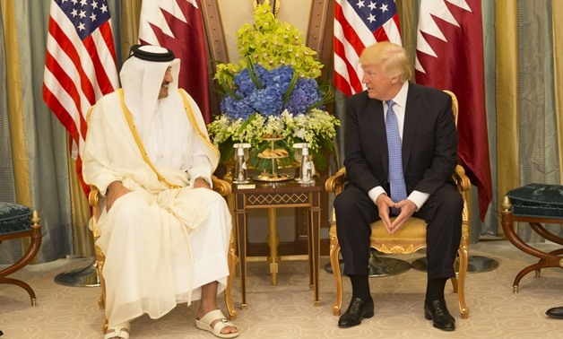 President Donald Trump meets with the Emir of Qatar during their bilateral meeting, Sunday, May 21, 2017, at the Ritz-Carlton Hotel in Riyadh, Saudi Arabia. (Official White House Photo by Shealah Craighead)