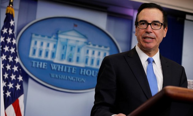 FILE PHOTO - U.S. Treasury Secretary Steven Mnuchin announces on Friday what he said was the largest North Korea-related sanctions in a bid to disrupt North Korean shipping and trading companies and vessels and to further isolate Pyongyang, in the press r