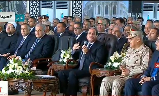 A screenshot of President Abdel Fatah al-Sisi during his speech in the inauguration of Alamein City and other projects
