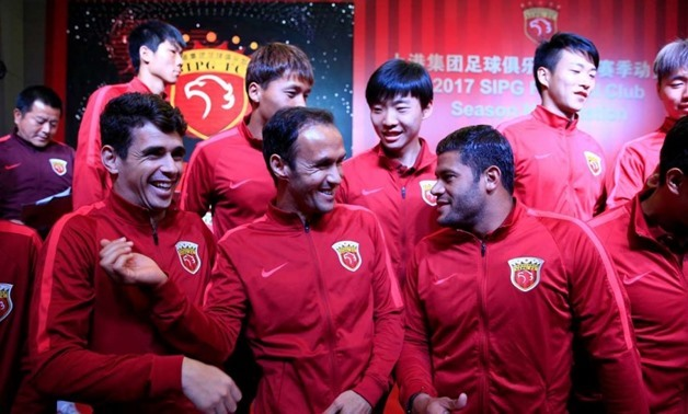 Oscar (L), Ricardo Carvalho (M), Hulk (R) with Shanghai SIPG jersey -  Courtesy of South China Morning Post