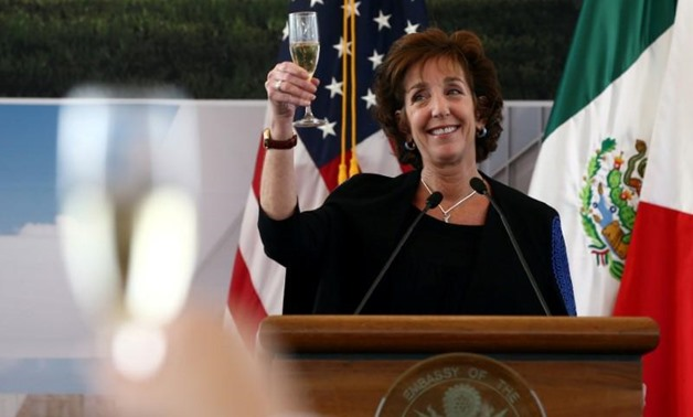FILE PHOTO: U.S. Ambassador to Mexico Roberta S. Jacobson raises her glass in a toast as she attends a ceremony to place the first stone of the new U.S. Embassy in Mexico City, Mexico February 13, 2018. REUTERS/Edgard Garrido