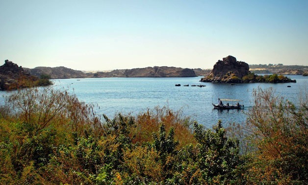 Aswan (Egypt) a branch of the Nile, seen from Isis Island March 10, 2012 – photo courtesy of Wikimedia