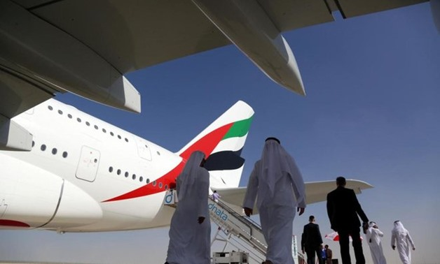 File photo of visitors walk past an Airbus A380 during the Dubai Airshow in Dubai, UAE, Nov13, 2017. REUTERS