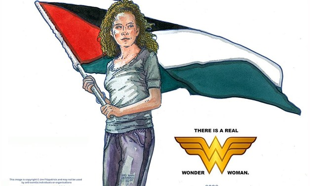 Portrait of Palestinian 16-years old Ahed Tamimi as Wonder Woman by Jim Fitzpatrick – Photo courtesy of Kim Fitzpatrick official page
