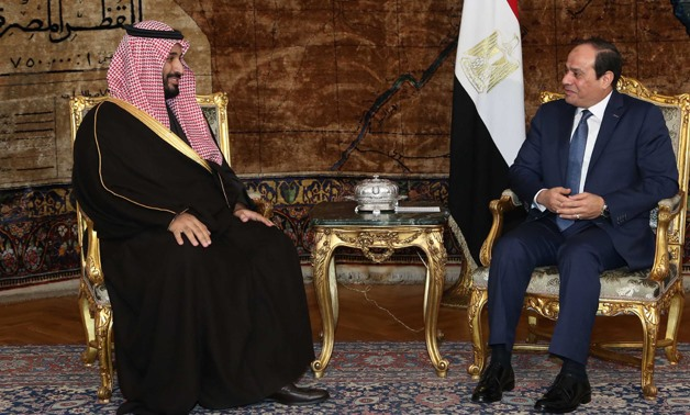 Crown Prince of Saudi Arabian Kingdom Mohamed bin Salman (L) and Egyptian President Abdel Fatah al-Sisi (R) in Cairo in 2015- Press Photo