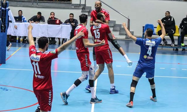 Al Ahly volleyball team celebrating – Al Ahly official website