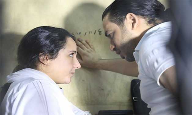 Aya Hijazi and her Husband Mohammed Hassanein during the trial-Photo by Karim Abdel Aziz