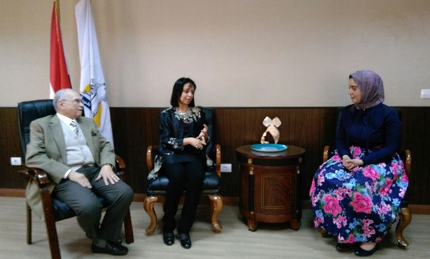 Rania Fahmy (right) with officials from the National Council for Women - Press photo