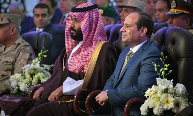 Saudi Arabia's Crown Prince Mohammed bin Salman and President Abdel Fatah al-Sisi in Ismailia, Egypt on March 5, 2018 – Press Photo