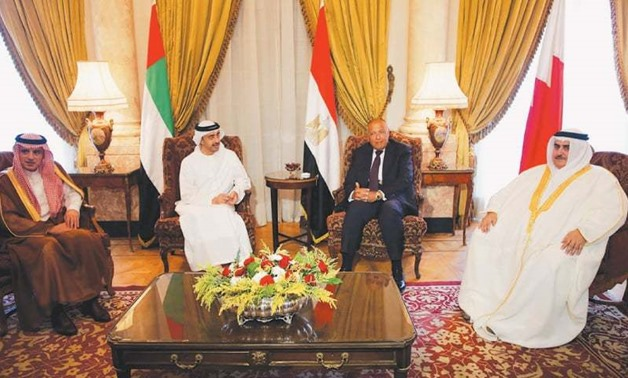 Arab Quartet Foreign Ministers discussing diplomatic situation with Qatar in July, 2017 in Cairo- Reuters