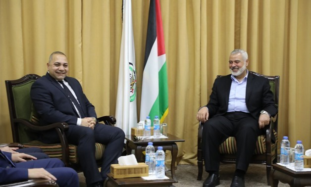 The Egyptian delegation's meeting with Ismail Haniyeh in Gaza on March 1, 2018 - Press photo