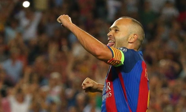 Barcelona, Spain - 13/9/16 Barcelona's Andres Iniesta celebrates scoring their fourth goal Reuters / Paul Hanna Livepic