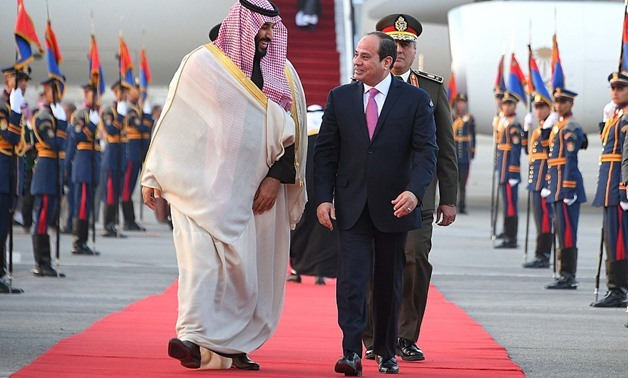 President Abdel Fatah al-Sisi welcoems Saudi Arabia's Crown Prince Mohammed bin Salman –Press photo