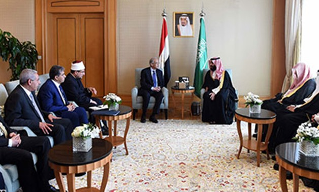 Prime Minister Sherif Ismail's meeting with Saudi Crown Prince Mohamed bin Salman-Press photo