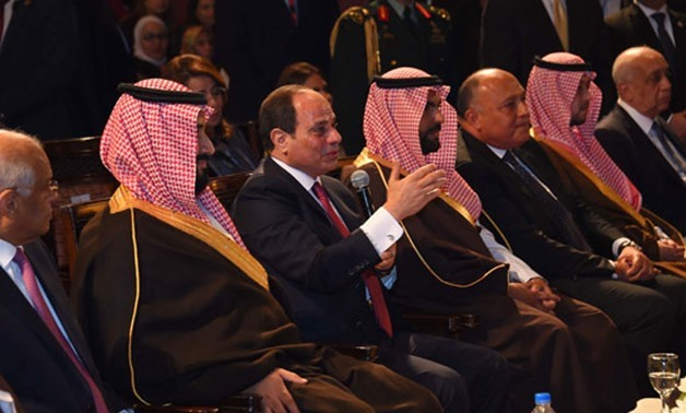 President Abdel Fatah al-Sisi and Saudi Crown Prince Mohamed bin Salman during the theater show - Press Photo