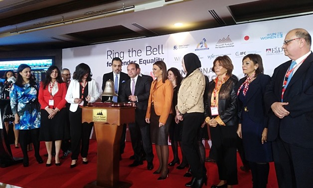 Minister of International Cooperation and Investment Sahar Nasr and Chairman of the Egyptian Exchange (EGX) Mohamed Farid rang the bell for Thursday's trading session in celebration of the International Women's Day.