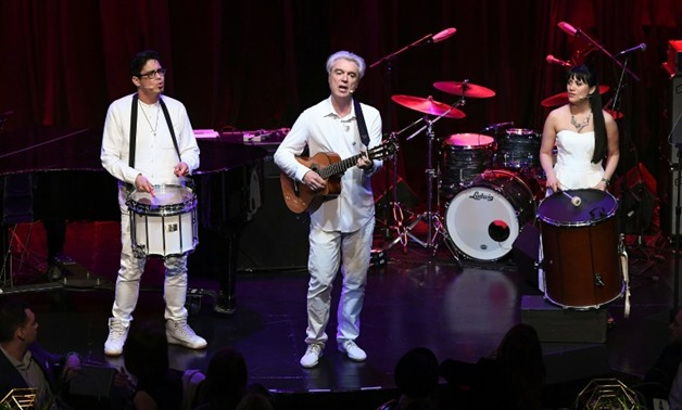 "David Byrne, seen here peforming with George Salazar in New York May 11, 2017, says he wanted to offer a sense of optimism in is first album in six years, ""American Utopia,"""