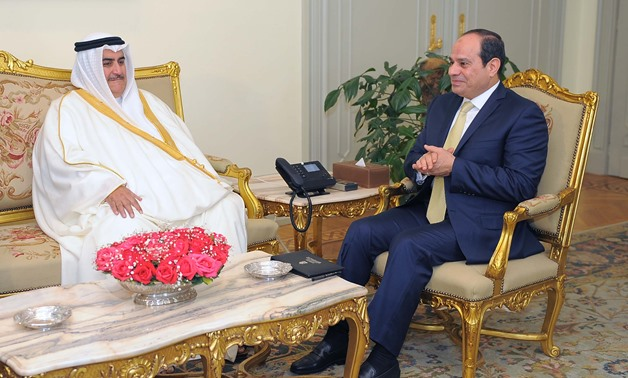 President Abdel Fatah al-Sisi meeting with Bahraini Minister of Foreign Affairs Khaled bin Ahmed Al Khalifa on March 8, 2018