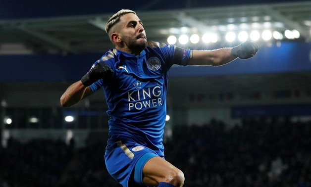 Leicester, Britain - January 20, 2018 Leicester City's Riyad Mahrez celebrates scoring their second goal REUTERS/David Klein