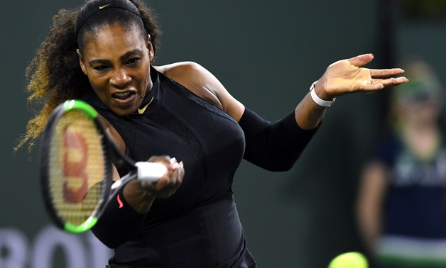 Mar 8, 2018; Indian Wells, CA, USA; Serena Williams (USA) during her first round match against Zarina Diyas (not pictured) at the BNP Paribas Open at the Indian Wells Tennis Garden. Mandatory Credit: Jayne Kamin-Oncea-USA TODAY Sports