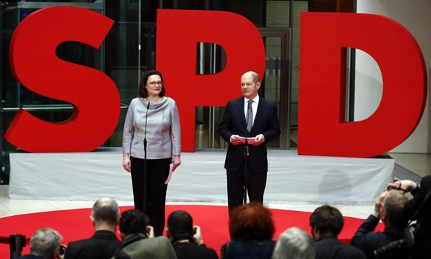 Andrea Nahles (SPD) presents German designated ministers Hubertus Heil Labour Minister, Fraziska Giffey Family Minister, Heiko Mass Foreign Minister, Katarina Barley Justice Minister, Svenja Schulze Environment Minister and Olaf Scholz Finance Minister fo