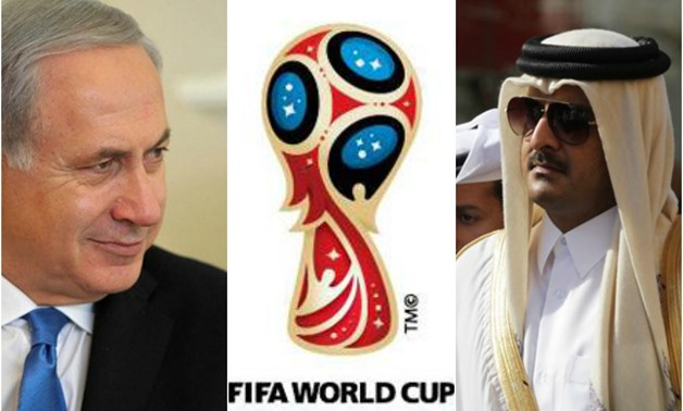 Benjamin Netanyahu (L), Logo of FIFA World Cup 2018 (C), Tamin bin Hamad Al Thani (R) - Photo compiled by Lolwa Reda