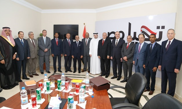 President Abdel Fatah al-Sisi's campaign headed by Ambassador Mahmoud Karem holds a meeting with 18 Arab ambassadors to review the preparations of the upcoming presidential election – Press Photo