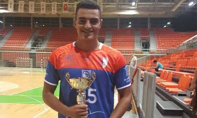 Mohamed el-Haragawy holding the best player of the Balkan Handball Championship trophy - Press image courtesy of Mohamed el-Haragawy official Faecbook