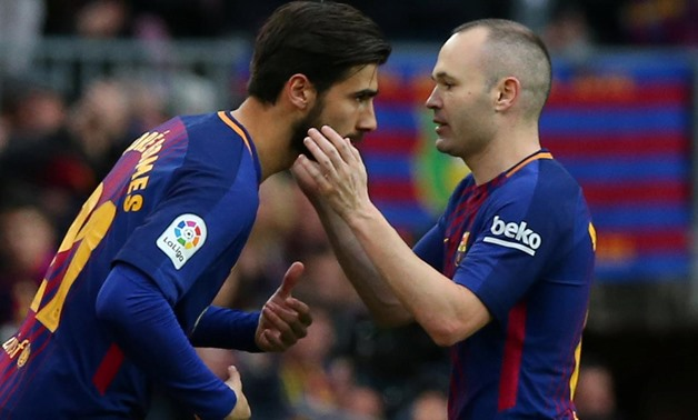March 4, 2018 Barcelona's Andre Gomes comes on as a substitute to replace Andres Iniesta REUTERS/Albert Gea