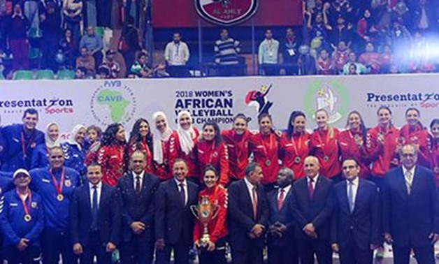 Al-Ahly Women Volleyball team with their title – Courtesy of Al-Ahly's official Facebook page