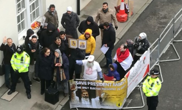 Muslim Brotherhood supporters led by Maha Azzam mobilized in front of the Egyptian embassy in London chanting anti-state slogans on March 17, 2018 - Press photo