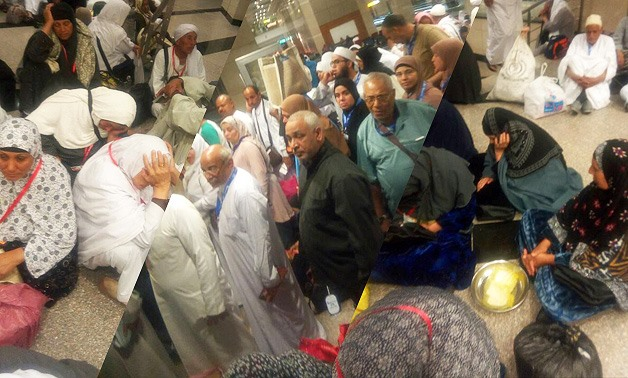 Hundreds of Egyptian pilgrims waiting for their flights at Cairo International Airport
