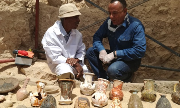 Antiquities discovered in the tomb/Ahmed Marei