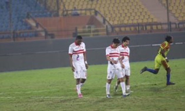 FILE – Zamalek players feel dejected after CAF Confederation Cup's elimination