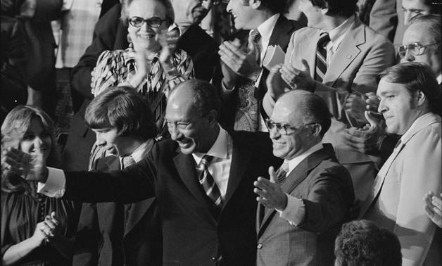 Anwar Sadat and Menachem BeginBegin after announcement of Camp David Accords - CC via Flickr, Warren K. Leffler 1978