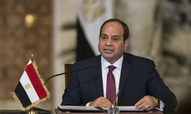 FILE PHOTO: Egypt's President Abdel Fattah al-Sisi speaks during a news conference in Cairo, Egypt December 11, 2017. REUTERS/Alexander Zemlianichenko/Pool