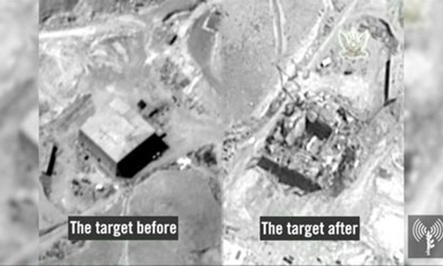 A still frame taken from video material released on March 21, 2018 shows a combination image of what the Israeli military describes is before and after an Israeli air strike on a suspected Syrian nuclear reactor site near Deir al-Zor - AFP