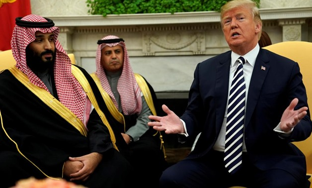 U.S. President Donald Trump welcomes Saudi Arabia's Crown Prince Mohammed bin Salman in the Oval Office at the White House in Washington, U.S. March 20, 2018. REUTERS/Jonathan Ernst